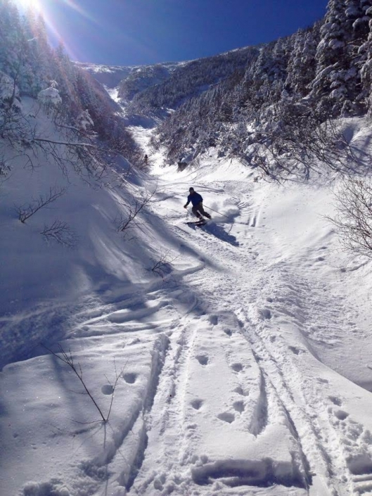 Skiing a secret ski line, NH